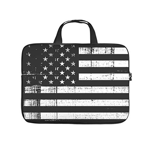 American Flag Laptop Sleeve Lightweight Water-Repellent Carry On Handle Case for Notebook/MacBook/Ultrabook/Chromebook White 13 Zoll