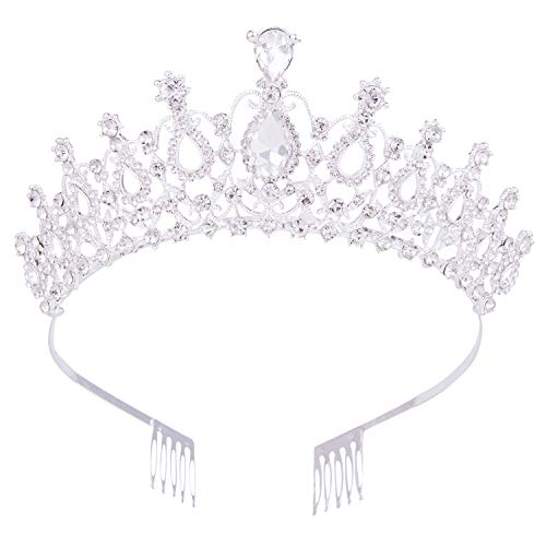 Vofler Crystal Tiaras and Crowns for Women Queen Silver Rhinestone Hair Jewelry Decor for Princess Ladies Flower Girls Bridal Bride Birthday Pageant Wedding Prom Halloween Costume Party with Combs