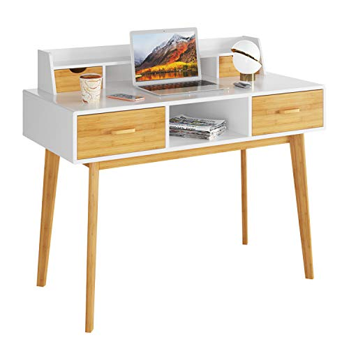 HOMECHO Schreibtisch mit 4 Schubladen Computertisch mit Ablagen Arbeitstisch Bürotisch mit Kabeldurchlass Laptoptisch Bambus HxBxT: ca. 76x106x50cm