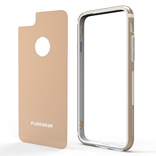 PureGear GlassBak 360 for iPhone 8 Plus 7 Plus 6s Plus 6 Plus Premium Aluminum 360° Bumper Case + Tempered Glass Back Protection, Slim Protective Case Cover Functional Metal Buttons Blush Gold