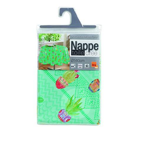 NAPPE RONDE (0) 160 CM PVC IMPRIME MELOCACTUS BLEU