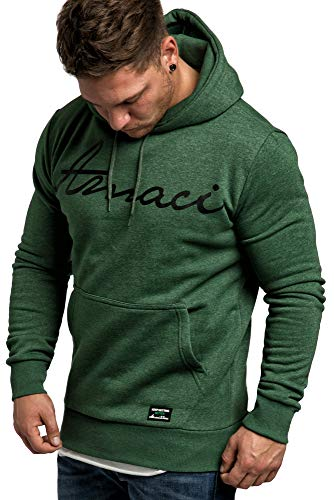 Amaci&Sons Herren Basic Kapuzenpullover Sweatjacke Pullover Hoodie Sweatshirt 4053 Grün Melange L