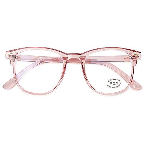 KOOSUFA Blaulichtfilter Brille Computerbrille Retro Ultra Licht TR90 Rund Brillengestelle Damen Herren Gaming Bluelight Filter Brillen Ohne Sehstärke Anti Müdigkeit mit Etui (Durchsichtig Rosa)