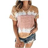 Aniywn Plus Size T-Shirt,Women Summer Casual O-Neck Short Sleeve Printing Patchwork Tunic Tops Basic Shirts Khaki