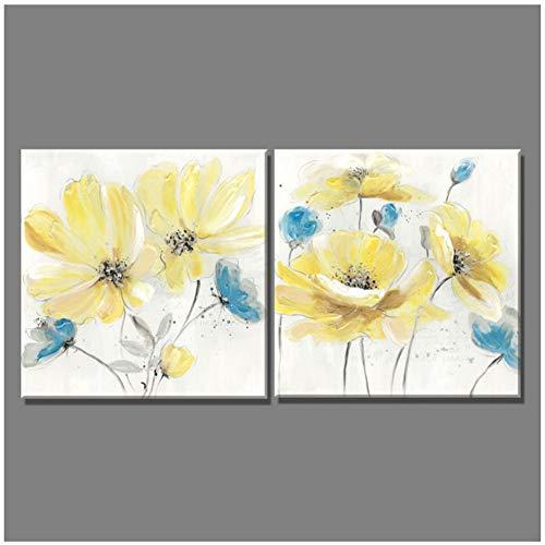 Geel blauw bloemen Europese stijl schilderen canvas mooie kunst schilderijen voor woonkamer wooncultuur muurschilderij - 50x50 cm geen lijst