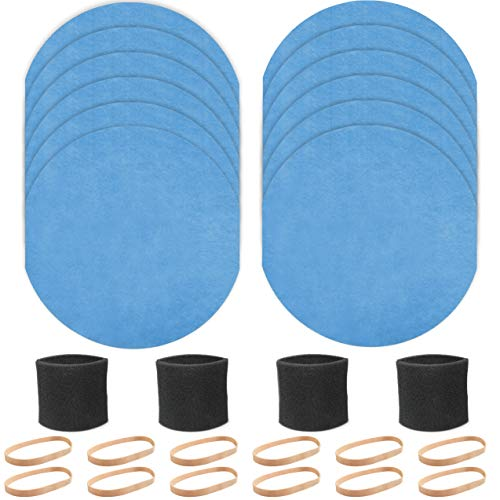 Fette Filter - Vacuum Kit set with 4 Foam Sleeve Filters for 5+ Gallons Vacs Compatible with Shop-Vac 90585, 12 Reusable Dry Filter & 12 Retaining Band 9010700, for Most Shop-Vac Vacuum Cleaners.