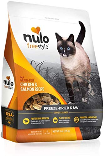 Nulo Freestyle Freeze-Dried Raw Cat Food, Chicken & Salmon, 3.5 oz - Grain Free Cat Food with Probiotics, Ultra-Rich Protein to Support Digestive and Immune Health - Premium Pet Food Topper, Yellow