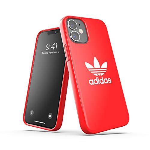 adidas Funda diseñada para iPhone 12 Mini 5.4, Carcasa a Prueba de caídas, Bordes elevados, Carcasa Original, Color Rojo Escarlata