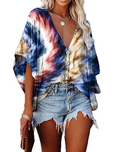 Wsgyj52hua 2021 Mujeres Europeas Y Americanas Primavera Y Verano Nueva Camiseta con Estampado De Gasa con Cuello En V Y Manga MurciéLago