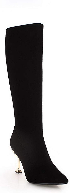AdeeSu Womens Bucket-Style High-Heels Solid Urethane Boots SXE04889