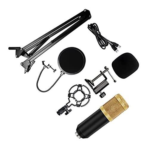 mikrofon för att sjunga Kits de micrófono con condensador de 192kHz / de 24 bits BM 800 MIC USB para PC Grabación de microfone D78 MIC con soporte de choque spelmikrofon ( Color : 7 BlackGold )