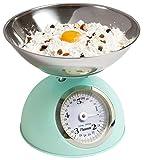 Bestron Balance de cuisine analogique avec plateau de pesée amovible, Design rétro, Sweet Dreams, Capacité de charge : 5 kg, Vert menthe