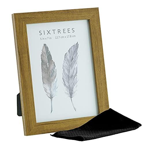 Sixtrees WD-205-57 - Cornice portafoto in legno di rovere chiaro, 17,8 x 12,7 cm, con panno in microfibra