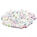 Vaorwne 100 Stück 6 mm Acryl Quadrat Alphabet Perlen Perlen handgemacht Buchstaben-Perlen, bunt,...