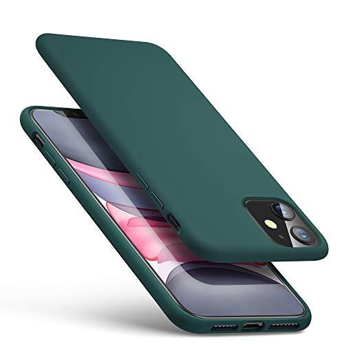 ESR Funda Silicona Líquida Compatible iPhone 11 (2019) 6,1', Sedoso-Tacto Suave, Forro de Microfibra, Protección para Pantalla y Cámara, Verde.