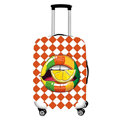 Haodasi Durable Washable Suitcase Cover Protector (Suitcase Excluded) Lemon Lip Plaid Pattern Luggage Cover Size XL Fit 29-32 Inch