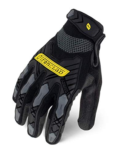IRONCLAD Command Impact Work Gloves; Touch Screen Gloves Conductive Palm and Fingers, Impact Protection, Machine Washable, Sized S, M, L, XL, XXL (1 Pair) (Large, Black)