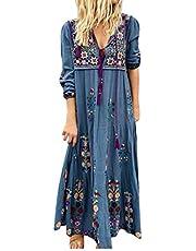 MRULIC Dam blommor maxiklänning bohemisk A-linje långa klänningar sommarklänning festklänning V-ringad långärmad strandklänningar boho lång bohemisk klänning
