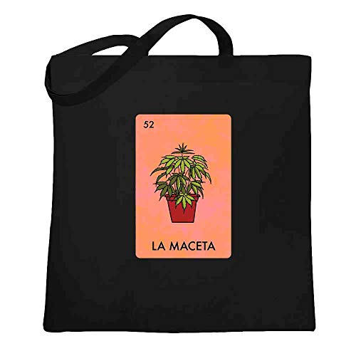 La Maceta Pot Plant Funny Mexican Lottery Parody Marijuana Weed 420 Black 15x15 inches Large Canvas Tote Bag Women