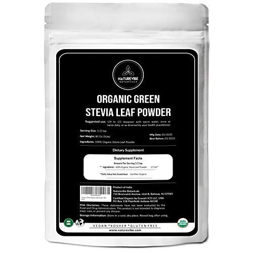 Naturevibe Botanicals Organic Green Stevia Leaf Powder- 5lbs | Gluten-Free, Raw & Non-GMO (80 Ounces)