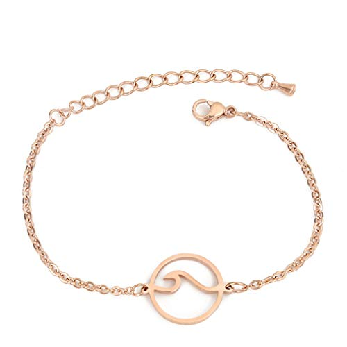 MYANAIL Wave Chain Bracelet for Woman Girl, Stainless Steel Ocean Wave Bangle Jewelry for Summer Beach Vacation Rose Gold