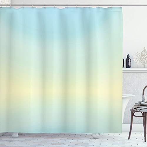 ABAKUHAUS Duschvorhang, Blaugrüner Klarer Minimalistischer Simpler Digital übergang von Blasses Türkis zu Himmel Blau, Blickdicht aus Stoff mit 12 Ringen Waschbar Langhaltig Hochwertig, 175 X 200 cm