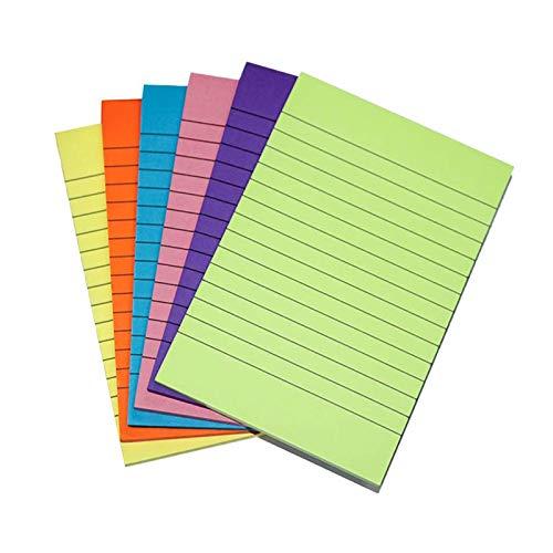 Surmounty Sticky Notes 6 Stück Notizzettel, Bunt Zettel Selbstklebende Notizblock, 50 Blätter Sticky Marker für Büro, Schule, 6 Farben