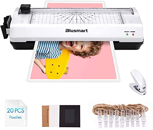 5 in 1 Blusmart Laminator Set, A4, Trimmer, Corner Rounder, 20 Laminating Pouches, Photo Frames (White)