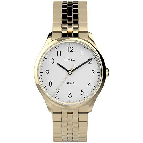 Timex Reloj de mujer moderno fácil lector, 32 mm, caja dorada, esfera blanca con banda de expansión