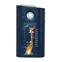 glo グロー グロウ 専用 レザーケース レザーカバー タバコ ケース カバー 合皮 ハードケース カバー 収納 デザイン 革 皮 BLUE ブルー 動物 サル きりん 013253