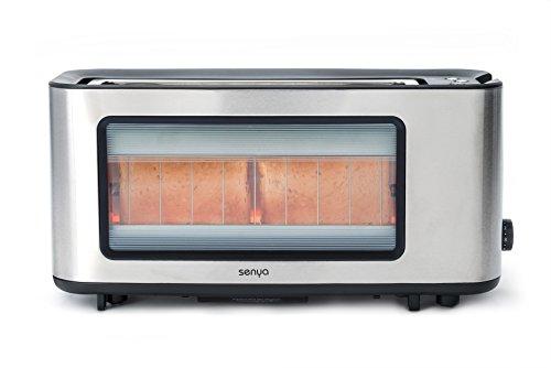 Tostadora de acero inoxidable y cristal, ranura muy ancha para baguette, incluye pinza para tostadas de madera, ventana transparente con cuerpo de acero inoxidable
