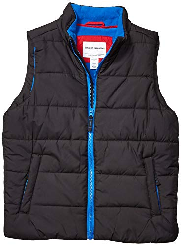 Amazon Essentials Kids Boys Heavy-Weight Puffer Vests, Black, Small