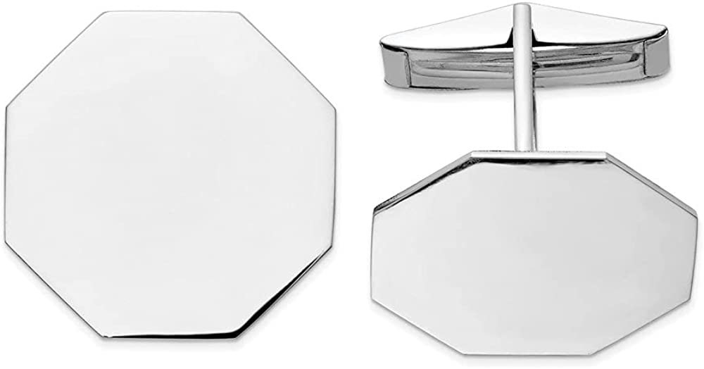 Diamond2Deal 14K White Gold Octagon Cuff Link for Mens