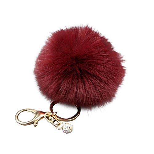 Colorful Women Faux Rabbit Fur Ball Pompom Keychain Phone Handbag Charm Pendant - Wine Red HearsBeauty
