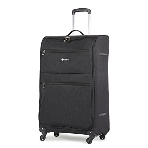5 Cities Large 29' Lightweight 4 Wheel Spinner Travel Trolley Check in Hold Luggage Suitcase (Black)