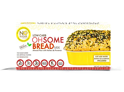 No Sugar Aloud, Low Carb OhSome Bread Mix Herbes de Provence (No sugar added, gluten free, Vegan, Keto and Diabetic friendly)