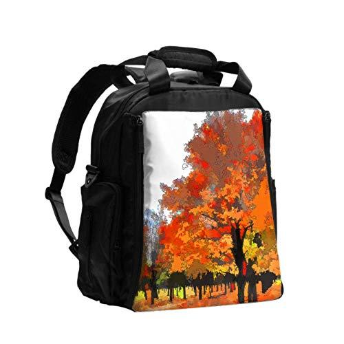Ausgefallene Wickeltasche Rucksack Art Woods Herbst Ölgemälde Blatt Tragbare Wickeltasche Multifunktions-Reiserucksack mit Wickelunterlage für die Babypflege