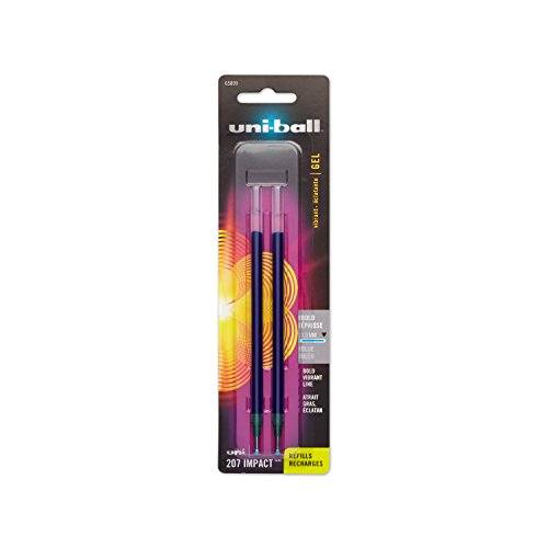 Uni-Ball Gel Uni-Ball Impact Stick Pen Refills, Bold Point, Blue Ink, Pack of 2