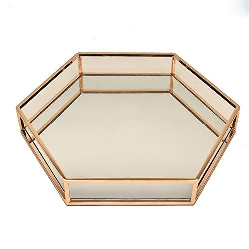 Cajas y organizadores Espejo de cristal del oro del metal de la vendimia Maquillaje Fragancias de la bandeja de joyas for la vanidad, Dresser decorativo encimera Organizador para el baño de tocador de