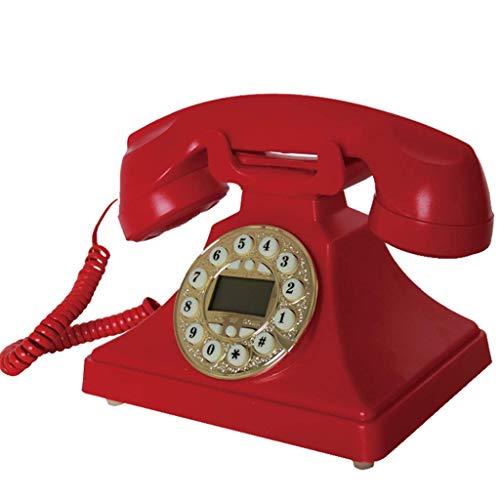 DFJU Botón de teléfono Retro Europeo Tipo de marcación Teléfono retroiluminado Inteligente Oficina Hogar Línea Fija (Rojo)
