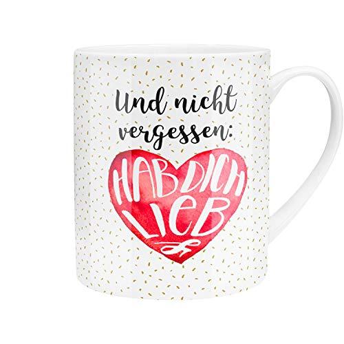 Die Geschenkewelt Gruss und Co 45759 XL Tee-Tasse, Hab Dich Lieb, Porzellan, 60 cl, mit Geschenk-Banderole, Rot
