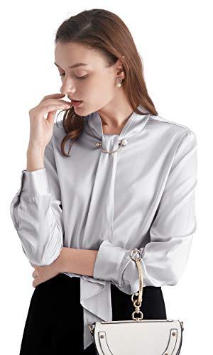 LilySilk Seidenhemd Seidenbluse Damenhemd Schluppenbluse Damen Langarm Verpackung MEHRWEG (M, Silbergrau)