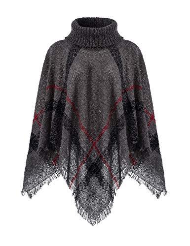 Ferand Warmer Weicher Karierter Damen Poncho-Pullover mit Kapuze oder Rollkragen, Rollkragen Version: Dunkelgrau, Einheitsgröße (Beste Passform S-L)