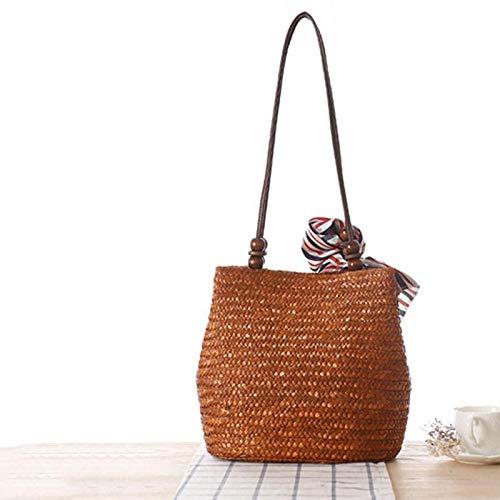 OneMoreT 2019 Strandtasche/Strandtasche für Damen, mit Quaste, Sommer, hochwertig, für Damen coffee