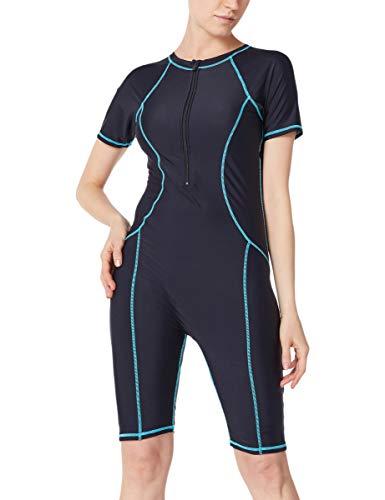 GOSOPIN Damen Badeanzug Tankini Swimsuit Sportlich Bademode Figurformend Neoprenanzug Schwimmanzug, Blau 1, 3XL