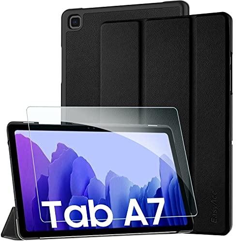 EasyAcc Kompatibel mit Samsung Galaxy Tab A7 10.4 2020 Hülle mit Panzerglas -Ultra Dünn mit Standfunktion Slim PU Leder Smart Schutzhülle Kompatibel Galaxy Tab A7 10.4 2020 SM-T500/SM-T505 Schwarz