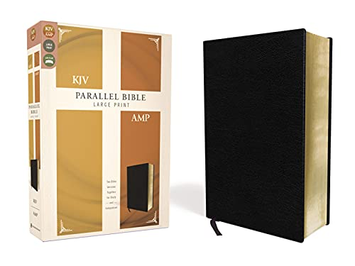 KJV, Amplified, Parallel Bible, Large Print, Bonded Leather, Black, Red Letter: Two Bible Versions Together for Study and Comparison