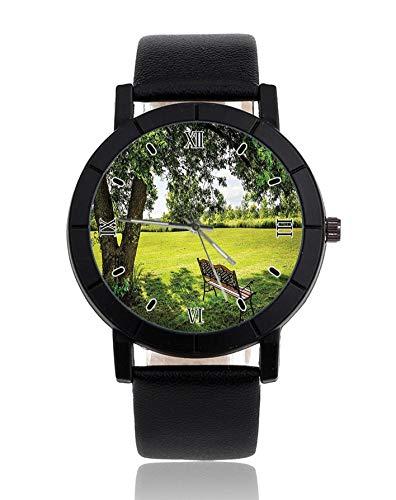 Holzbank Armbanduhr Lederarmband Armbanduhr Casual Uhren für Herren