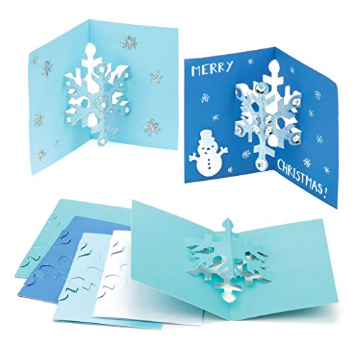 Baker Ross AV889 Snowflake Pop Out Cards - Pack of 8, Creative Christmas Art and Craft Supplies for Kids to Make and Decorate
