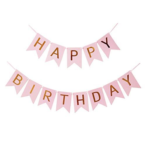 ZAK168 Alles Gute zum Geburtstag Banner, Alles Gute zum Geburtstag Ornament Hintergrund Papier hängenden Buchstaben Party Dekoration, Geburtstag Girlande für Jungen und Mädchen Geburtstag(Pink)